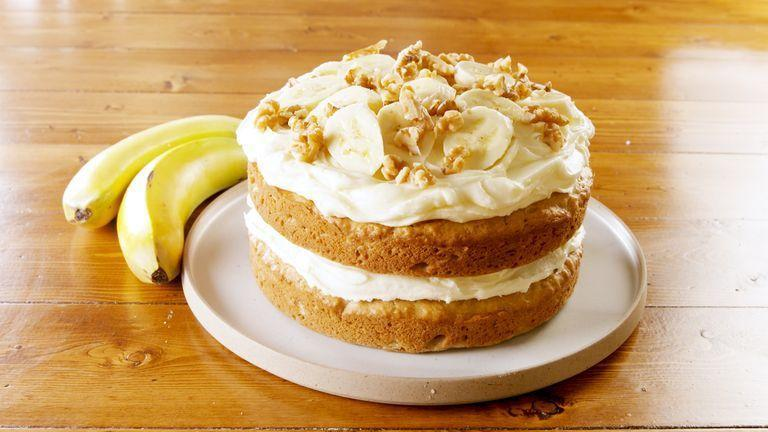 """<p>Just like with <a href=""""https://www.delish.com/uk/cooking/recipes/g28843835/banana-bread-recipes/"""" rel=""""nofollow noopener"""" target=""""_blank"""" data-ylk=""""slk:banana bread"""" class=""""link rapid-noclick-resp"""">banana bread</a>, overripe (read: brown) bananas work best for this recipe. Same with cake flour ... which we never have. So we used an easy hack (which we practiced in our <a href=""""https://www.delish.com/uk/cooking/recipes/a31974613/best-bundt-cake-recipe/"""" rel=""""nofollow noopener"""" target=""""_blank"""" data-ylk=""""slk:basic Vanilla Bundt Cake"""" class=""""link rapid-noclick-resp"""">basic Vanilla Bundt Cake</a>) and whisked together some AP flour and cornflour </p><p>Get the <a href=""""https://www.delish.com/uk/cooking/recipes/a33529866/easy-banana-cake-recipe/"""" rel=""""nofollow noopener"""" target=""""_blank"""" data-ylk=""""slk:Banana Cake"""" class=""""link rapid-noclick-resp"""">Banana Cake</a> recipe.</p>"""