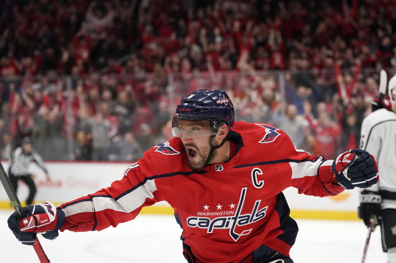 Alex Ovechkin of the Washington Capitals has 16 goals in his last 10 games and 40 in total this season. (Photo by Patrick McDermott/NHLI via Getty Images)