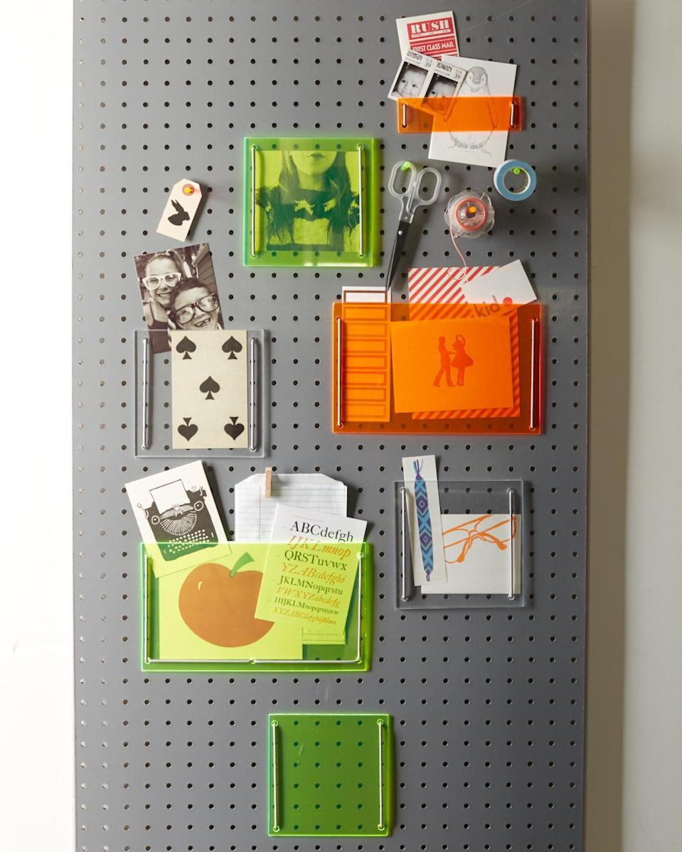 <p>While the idea of a pegboard might call up visions of the dusty basement version where your family keeps their tools, an updated option in your dorm room allows you to install baskets, shelves, and other custom organizing options without ruining the walls.</p>