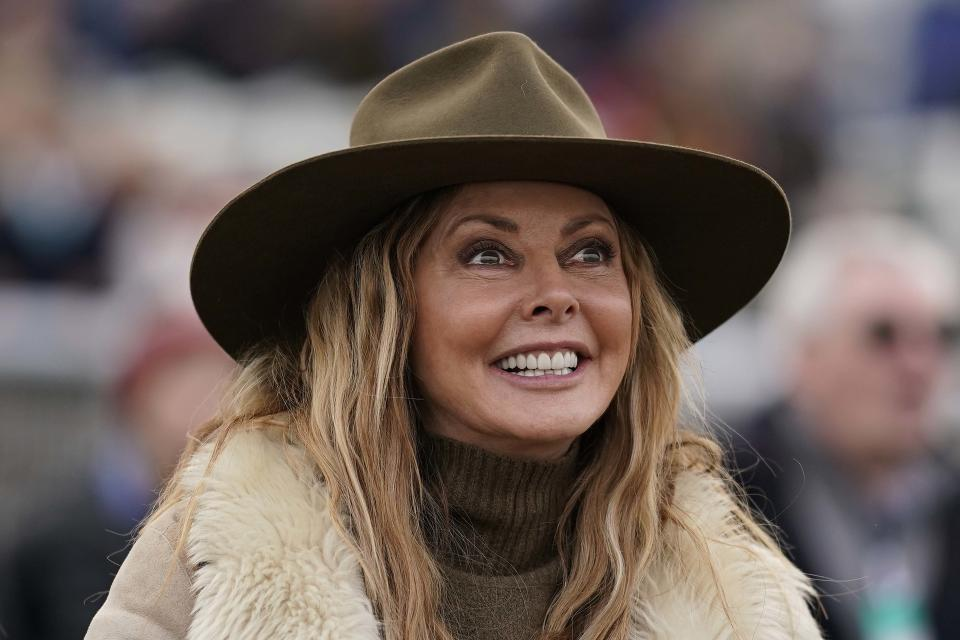 CHEPSTOW, WALES - MARCH 21: TV personality Carol Vorderman cheers home her her horse Subway Surf as it wins The Irish Thoroughbred Marketing Mares' Standard Open NH Flat Race at Chepstow Racecourse on March 21, 2019 in Chepstow, Wales. (Photo by Alan Crowhurst/Getty Images)