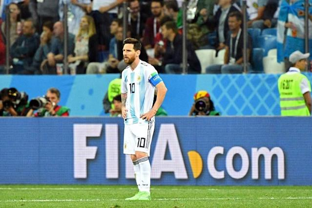 Argentina's forward Lionel Messi reacts after Croatia scored their third goal