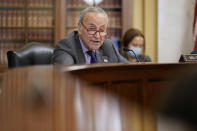 Senate Majority Leader Chuck Schumer of N.Y., speaks during a Senate Rules Committee hearing at the Capitol in Washington, Tuesday, May 11, 2021. (AP Photo/J. Scott Applewhite)