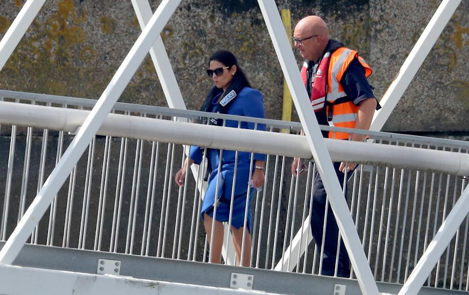 Home Secretary Priti Patel in Dover, the day after she appointed Dan OÕMahoney as the Clandestine Channel Threat Commander - a new role leading the UKÕs response to tackling illegal attempts to reach the UK - who will be tasked with making the route unviable for small boat crossings. (Photo by Gareth Fuller/PA Images via Getty Images)