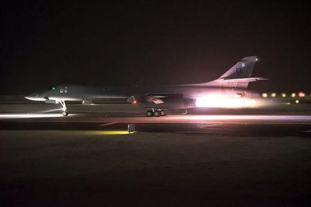 U.S. Air Force Central Command photo of a U.S. Air Force B-1B Lancer in Doha