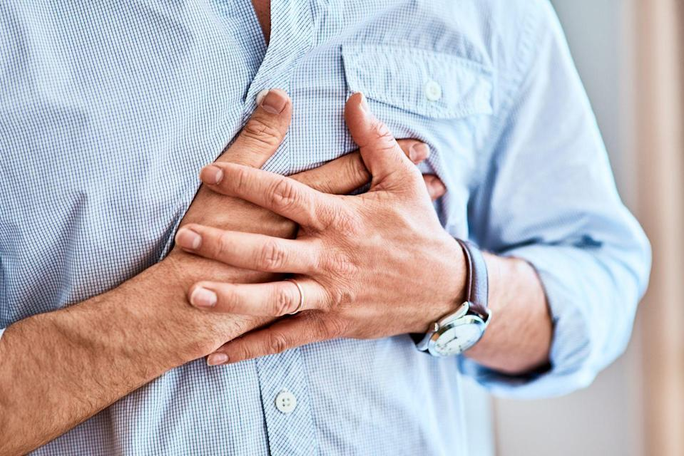 """<p>When oxygen is low, <a href=""""http://www.prevention.com/health/what-your-heart-rate-says-about-your-health"""" rel=""""nofollow noopener"""" target=""""_blank"""" data-ylk=""""slk:your heart rate"""" class=""""link rapid-noclick-resp"""">your heart rate</a> goes high to try to make up for the shortage. Feeling a flutter in your chest and having trouble with deep breaths could be your body sending out an SOS that you've got a PE lurking in your lungs, Dr. Teitelbaum says.</p><p>""""For a small blood clot, the heart rate rises in part due to chest pain, shortness of breath, and the <a href=""""https://www.prevention.com/health/mental-health/a31941562/does-anxiety-cause-shortness-of-breath/"""" rel=""""nofollow noopener"""" target=""""_blank"""" data-ylk=""""slk:related anxiety that these cause"""" class=""""link rapid-noclick-resp"""">related anxiety that these cause</a>,"""" says <a href=""""https://www.acep.org/paced/our-team/lewis-nelson/#:~:text=Dr.,Hospital%20in%20Newark%2C%20New%20Jersey."""" rel=""""nofollow noopener"""" target=""""_blank"""" data-ylk=""""slk:Lewis Nelson, M.D."""" class=""""link rapid-noclick-resp"""">Lewis Nelson, M.D.</a>, chair of the department of emergency medicine at Rutgers New Jersey Medical School. There is also a release of chemicals from lung tissues that leads to a rise in heart rate.</p><p>If the clot is larger, it can cause a reduction in blood oxygen content """"and even changes in blood flow that lead to a compensatory rise in heart rate,"""" Dr. Nelson says.</p>"""