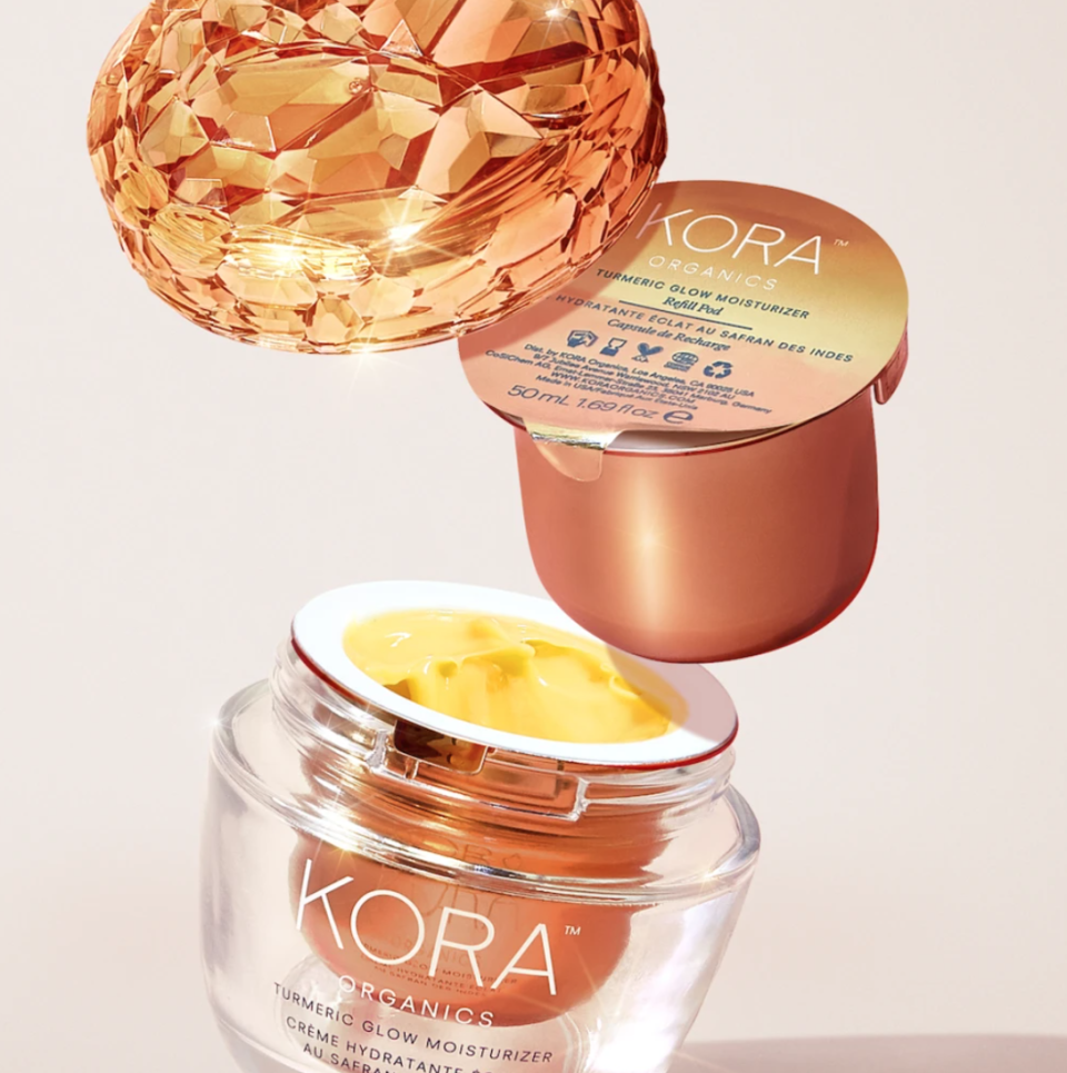 KORA gets extra bonus points for making its newest product, the Turmeric Glow Moisturizer, refillable and sustainable. This ultra-hydrating cream is made with a custom liposome that targets the appearance of hyperpigmentation, dark spots, dullness, fine lines and wrinkles. Kerr calls the potent blend of marine micro algae, desert date oil, roseship oil and maracuja oil her