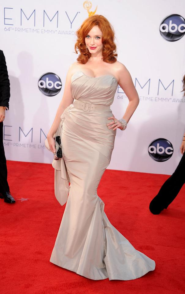 Christina Hendricks arrives at the 64th Primetime Emmy Awards at the Nokia Theatre in Los Angeles on September 23, 2012.