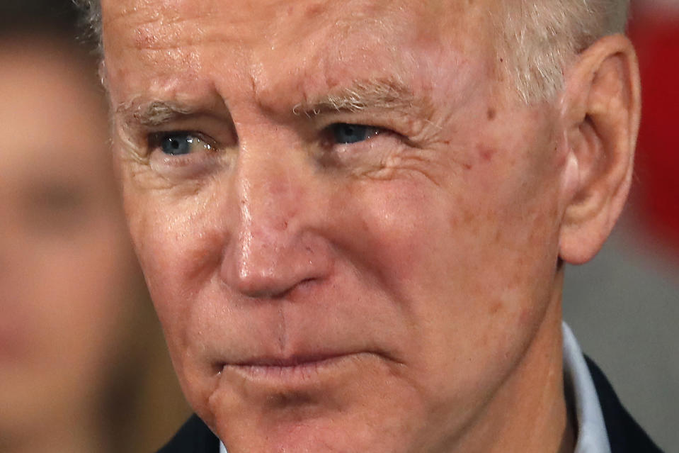 Democratic presidential candidate former Vice President Joe Biden speaks at a campaign event, Saturday, Feb. 8, 2020, in Manchester, N.H. (AP Photo/Elise Amendola).