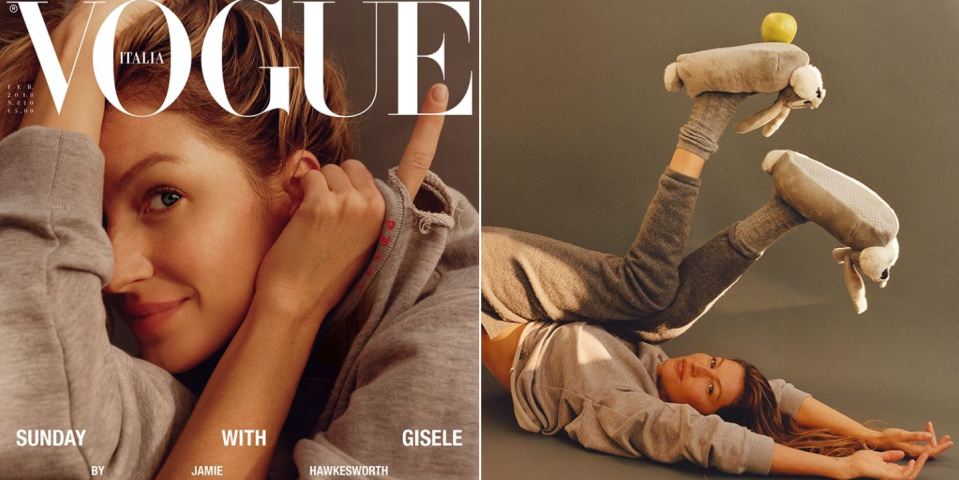Gisele Bündchen goes makeup-free on the cover of <em>Vogue Italia</em>. (Photo: Vogue Italia)