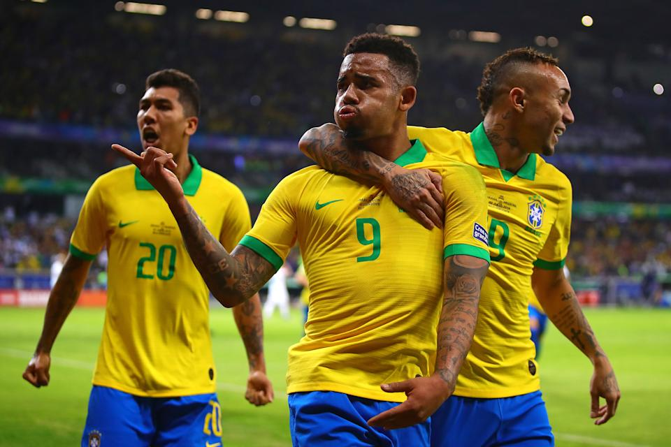 BELO HORIZONTE, BRAZIL - JULY 02: Gabriel Jesus of Brazil celebrates scoring the opening goal  during the Copa America Brazil 2019 Semi Final match between Brazil and Argentina at Mineirao Stadium on July 02, 2019 in Belo Horizonte, Brazil. (Photo by Chris Brunskill/Fantasista/Getty Images)