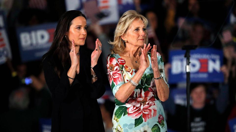 Mandatory Credit: Photo by Gerald Herbert/AP/Shutterstock (10571261p)Jill Biden, wife of Democratic presidential candidate former Vice President Joe Biden and daughter Ashley, left, watch as Biden speaks at a primary night election rally in Columbia, S.