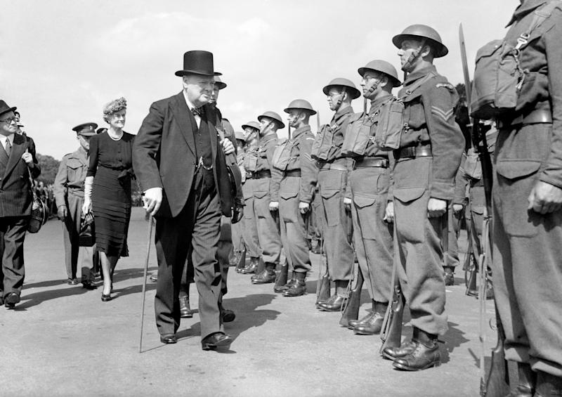 The Prime Minister Winston Churchill inspects Home Guard personnel in Hyde Park, London.
