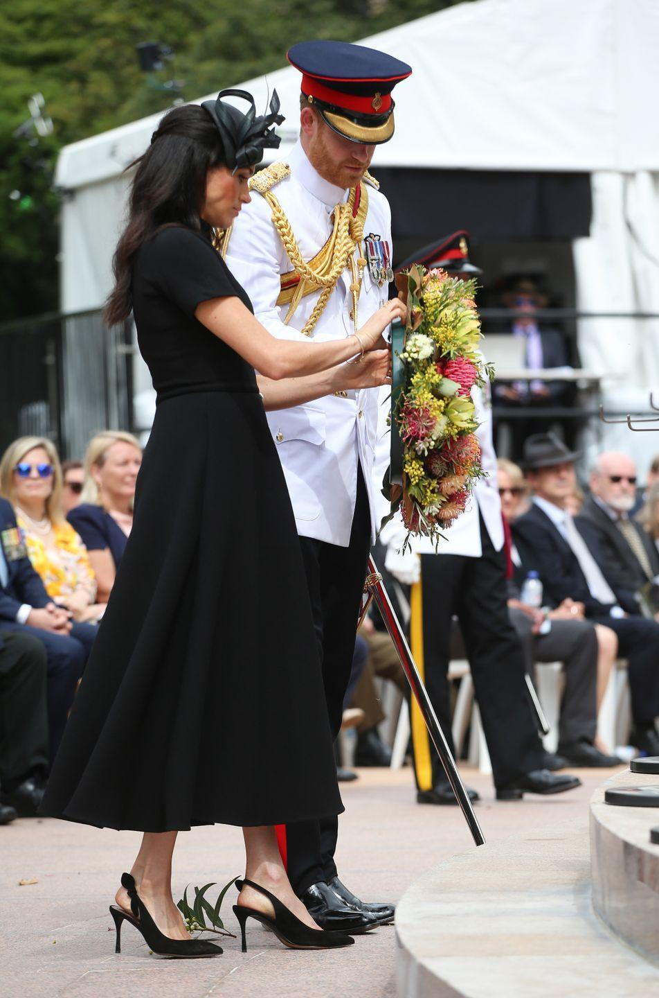 <p>The couple attended a ceremony at the ANZAC memorial where they left a wreath in honor of Australian soldiers killed in World War I. </p>