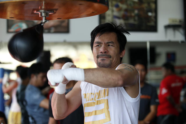 Manny Pacquiao is far removed from the glory days when he commanded briefcases full of money and bigger U.S. audiences. (Getty Images)