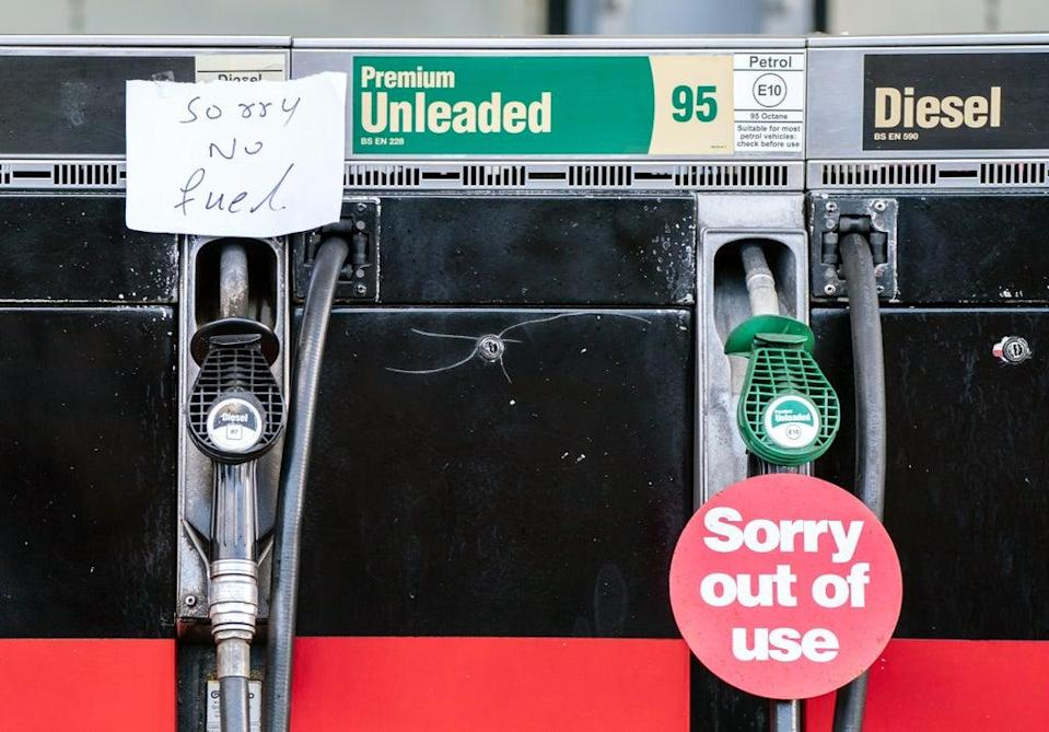 Fuel pumps out of use at a deserted petrol station forecourt in Honley, West Yorkshire (Danny Lawson/PA) (PA Wire)