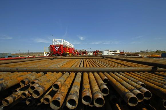 Steel pipe in a pile waiting to be put into use.
