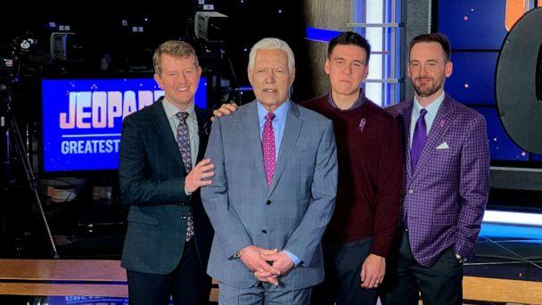 PHOTO: Ken Jennings, Brad Rutter and James Holzhauer pose with Alex Trebek on the set of 'Jeopardy! The Greatest of All Time.' (ABC News)