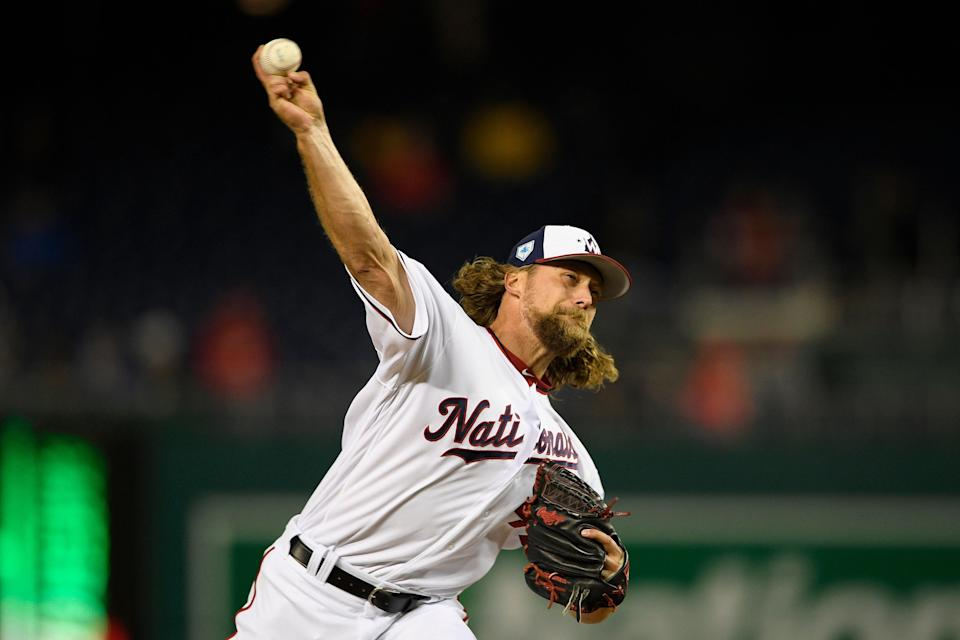 Washington Nationals relief pitcher Trevor Rosenthal (44) delivers a pitch during an exhibition baseball game against the New York Yankees, Monday, March 25, 2019, in Washington. The Nationals won 5-3. (AP Photo/Nick Wass)