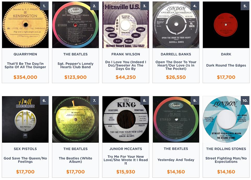 Most valuable vinyl records ever released, according to Noble Oak.