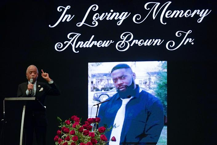 <p>File-This May 3, 2021, file photo shows Rev. Al Sharpton speaking during the funeral for Andrew Brown Jr.,  at Fountain of Life Church in Elizabeth City, N.C.  </p> ((AP Photo/Gerry Broome, File))