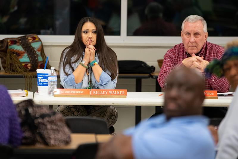 Refugio ISD board of trustee members Kelley Walker and T. Wayne Price listen to public comment during a special meeting on Tuesday, Jan. 14, 2020. The meeting was called to discuss the issue of the Refugio fight song.