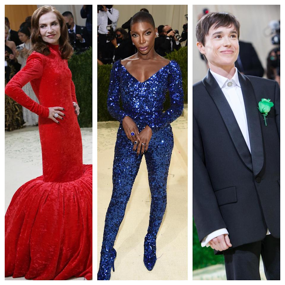Isabelle Huppert, Michaela Coel and Elliot Page wear Balenciaga at the 2021 Met Gala. - Credit: Lexie Moreland/WWD and AP