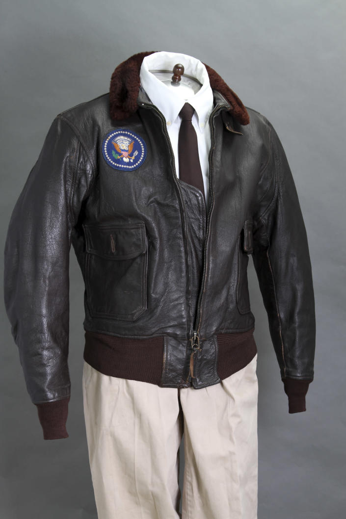 This 2012 photo provided by John McInnis Auctioneers in Amesbury, Mass., shows late President John F. Kennedy's Air Force One leather bomber jacket, which is among items to be auctioned Sunday, Feb. 17, 2013. The family of David Powers, a former special assistant to President John F. Kennedy, is auctioning hundreds of photographs, documents, gifts and other memorabilia that once belonged to the late president. (AP Photo/John McInnis Auctioneers, Matthew Bourgeois)