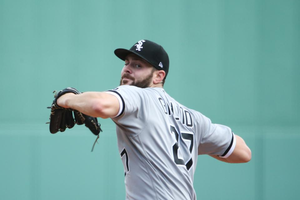 BOSTON, MA - APRIL 19: Lucas Giolito #27 of the Chicago White Sox pitches in the second inning against the Boston Red Sox at Fenway Park on April 19, 2021 in Boston, Massachusetts. (Photo by Kathryn Riley/Getty Images)