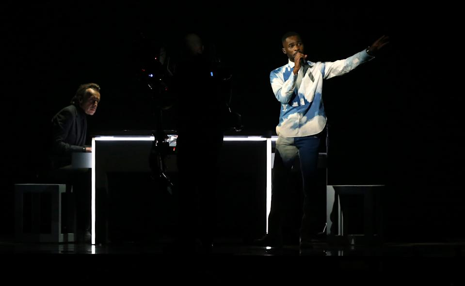 Dave performs on stage at the Brit Awards 2020 at the O2 Arena, London.