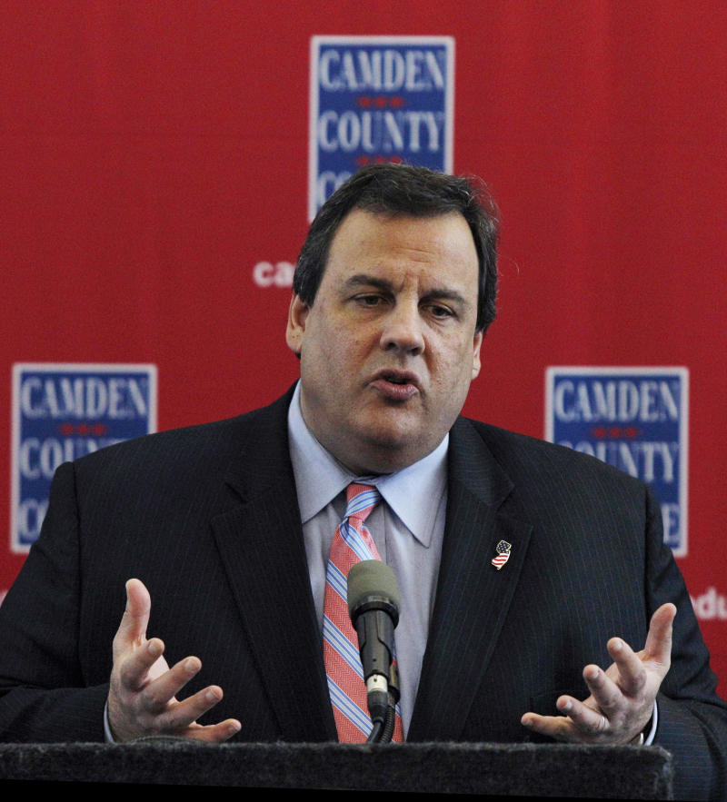 New Jersey Gov. Chris Christie answers a question Wednesday, March 23, 2011, in Blackwood, N.J., after meeting with elected officials from Camden County about the benefits of consolidating local police and fire departments. (AP Photo/Mel Evans)