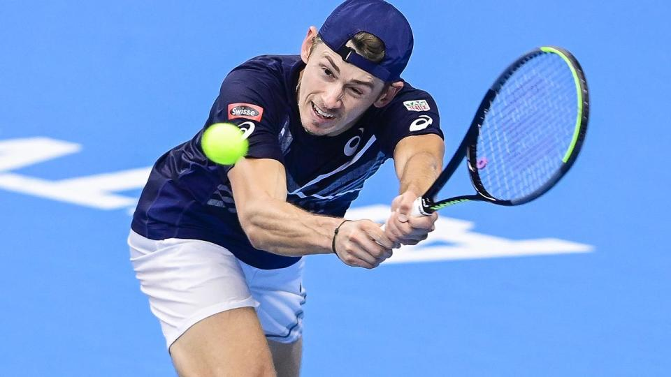Alex De Minaur, pictured here in action at the European Open in Antwerp.