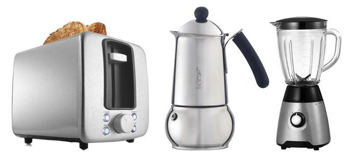 Kmart toaster, Bialetti coffee maker and Target blender