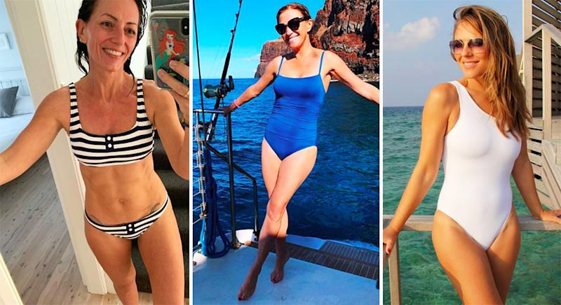 8fe68aaccf Elizabeth Hurley, 53, is another celebrity who defies her age in swimwear.