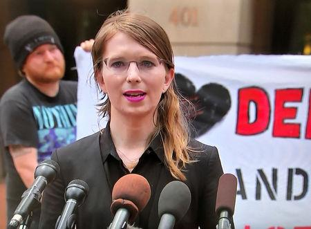 Former U.S. Army intelligence analyst Chelsea Manning is seen speaking to reporters outside the U.S. federal courthouse in this frame grab from video taken shortly before she entered the coourthouse to appear before a federal judge regarding a federal grand jury investigation of WikiLeaks in Alexandria, Virginia, U.S. May 16, 2019. REUTERS/Courtesy of NBC News