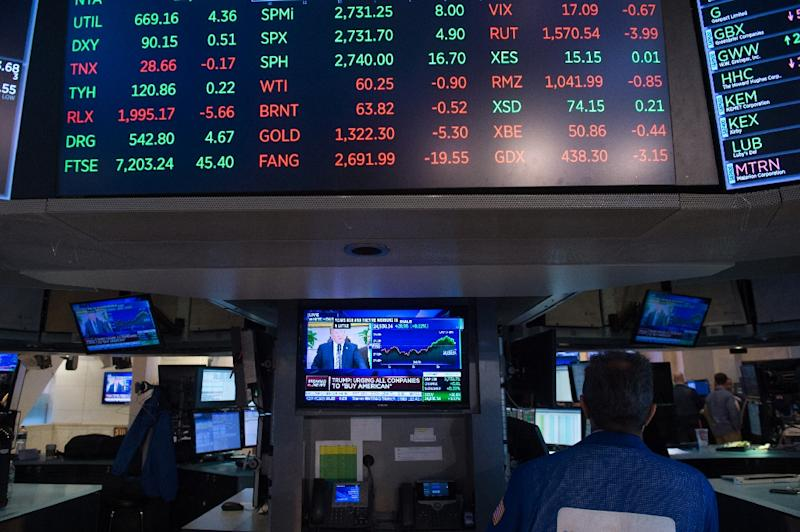 The Nasdaq finished at another record high, but the Dow tumbled as revived worries of a trade war led to heavy selling in shares of several leading multinationals