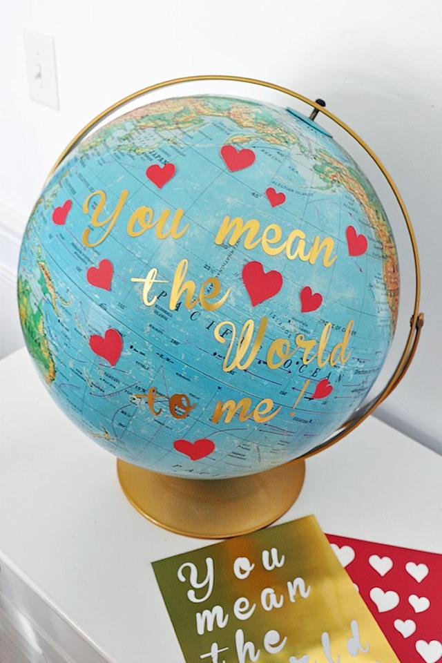 """<p>A pun <em>and</em> a cute decoration idea? We're sold.</p><p><strong>Get the tutorial at <a href=""""https://madeinaday.com/diy-globe-valentine/"""" target=""""_blank"""">Made in a Day</a>.</strong></p><p><a class=""""body-btn-link"""" href=""""https://www.amazon.com/s?k=letter+stickers&ref=nb_sb_noss_2&tag=syn-yahoo-20&ascsubtag=%5Bartid%7C10050.g.2971%5Bsrc%7Cyahoo-us"""" target=""""_blank"""">SHOP LETTER STICKERS</a><em></em></p>"""