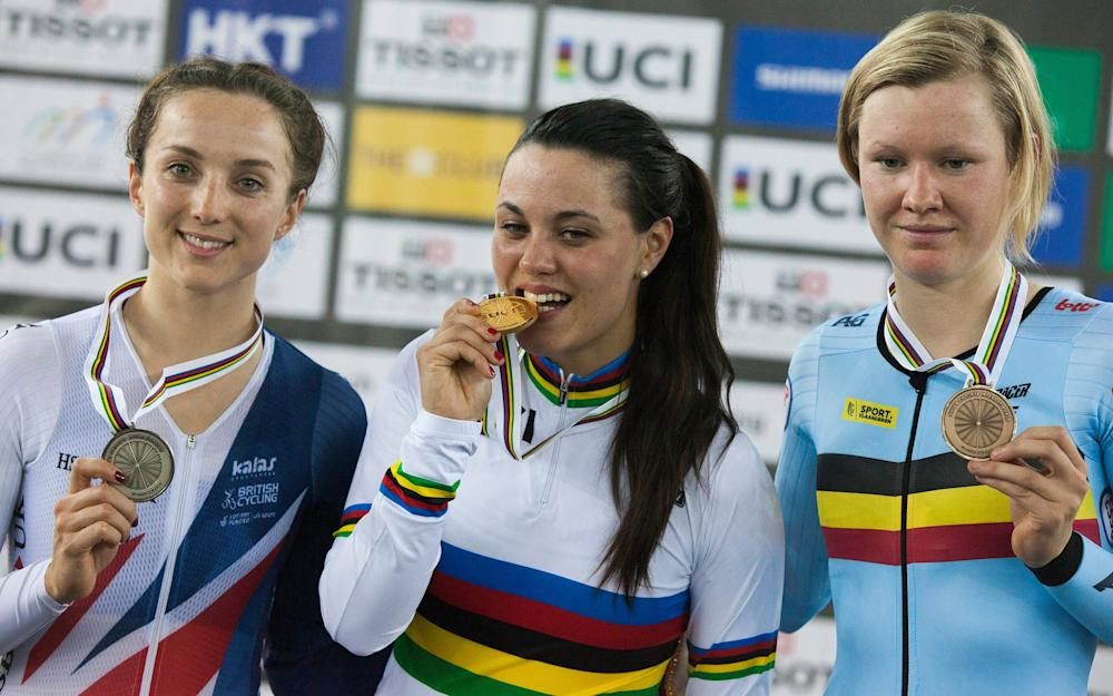 Elinor Barker -Katie Archibald on top of the world after winning Britain's first gold of 2017 Track Cycling World Championships - Credit: EPA
