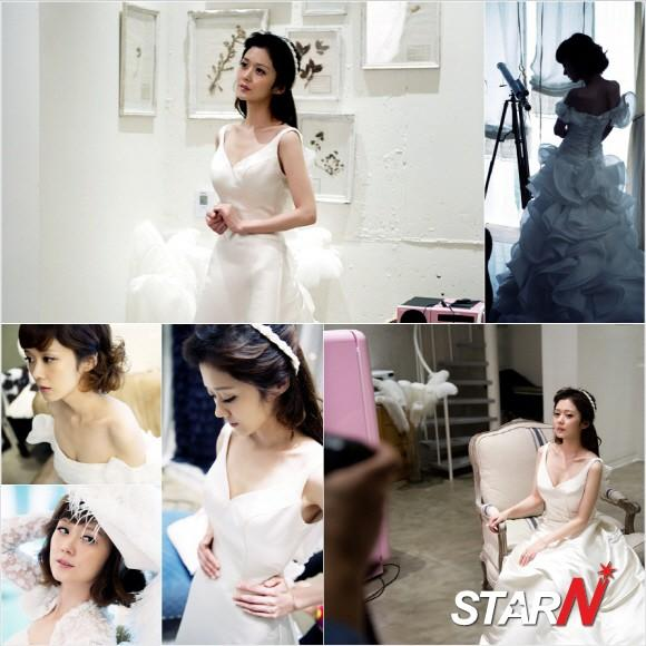 Jang Nara shows her beautiful look in wedding dresses