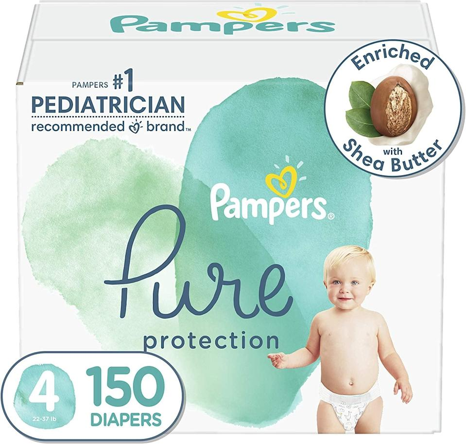 <p><span>Pampers Pure Protection diapers</span> ($52 and up for 150 diapers) use sustainably sourced cotton that is grown in the USA and are <span>made with 100% certified renewable energy</span>. Plus, their low price point make them an eco-friendly disposable option for parents on a budget.</p>