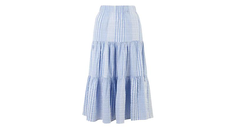 Cotton Striped Midi Fit & Flare Skirt
