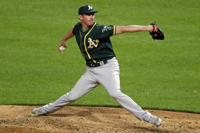Oakland Athletics starting pitcher Chris Bassitt delivers during the fourth inning of the team's baseball game against the Pittsburgh Pirates in Pittsburgh, Saturday, May 4, 2019. (AP Photo/Gene J. Puskar)