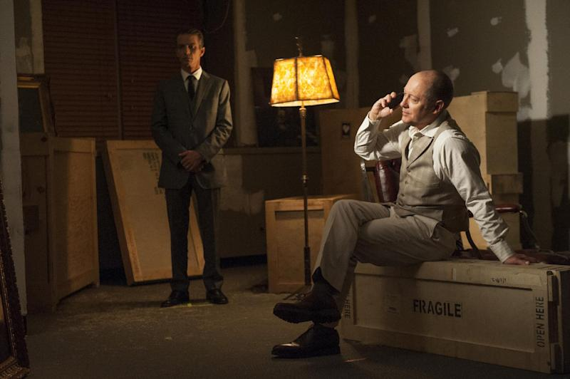 "This photo released by NBC shows James Spader, right, as Raymond ""Red"" Reddington, in ""Gina Zanetakos"" Episode 105, of NBC's ""The Blacklist."" The series airs Mondays at 10/9 CDT on NBC. (AP Photo/NBC, Barbara Nitke)"