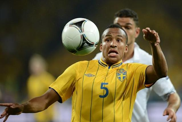 Swedish defender Martin Olsson eyes the ball during the Euro 2012 football championships match Sweden vs France on June 19, 2012 at the Olympic Stadium in Kiev. AFP PHOTO / FRANCK FIFEFRANCK FIFE/AFP/GettyImages