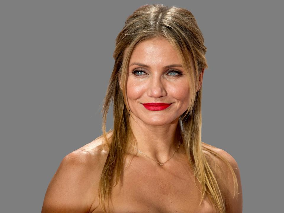 Cameron Diaz headshot, actress, graphic element on gray