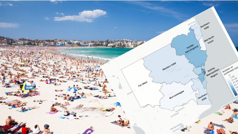 Bondi has been one of NSW's coronavirus hotspots. Images: Getty, NSW Health