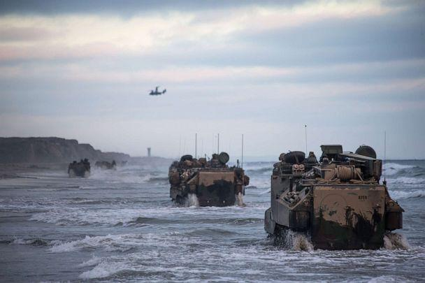 PHOTO: Marines with Bravo Company, drive AAV-P7/A1 assault amphibious vehicles through the surf during sustainment training at Marine Corps Base Camp Pendleton, Calif., July 14, 2020. (Lance Cpl. Brendan Mullin/U.S. Marine Corp., FILE)