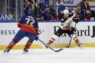 St. Louis Blues' Justin Faulk (72) defends against Anaheim Ducks' Troy Terry (61) during the first period of an NHL hockey game on Wednesday, May 5, 2021, in St. Louis. (AP Photo/Joe Puetz)