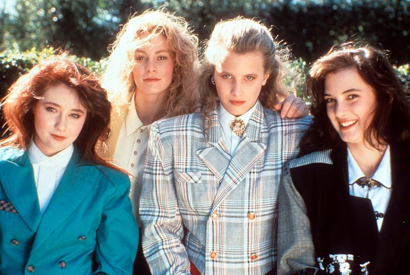 From left to right, Shannen Doherty, Lisanne Falk, Kim Walker and Winona Ryder on set of the film 'Heathers', 1988. (Photo by New World Pictures/Getty Images)