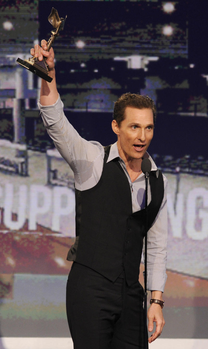 """Actor Matthew McConaughey accepts the award for best supporting male for """"Magic Mike,"""" at the Independent Spirit Awards on Saturday, Feb. 23, 2013, in Santa Monica, Calif. (Photo by Chris Pizzello/Invision/AP)"""