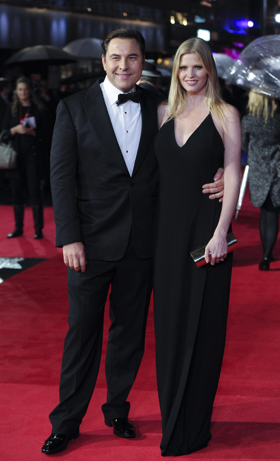 """Actor David Walliams & Lara Stone attends the """"Great Expectations"""" Red Carpet as part of the BFI London Film Festival closing night gala held at the Odeon West End on Sunday, Oct. 21, 2012 in London. (Photo by Ki Price/Invision/AP)"""